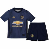 18-19 Manchester United Third Away Navy Children's Jersey Kit(Shirt+Short)