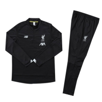 Kids 19-20 Liverpool Black Sweat Shirt Kit(Top+Trouser)