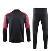19/20 AC Milan Black Zipper Sweat Shirt Kit(Top+Trouser)