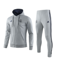 19/20 Real Madrid Gray Hoody Training Kit(Jacket+Trouser)