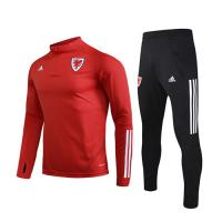 2020 Wales Red Zipper Sweat Shirt Kit(Top+Trouser)