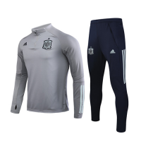 2020 Spain Light Gray Zipper Sweat Shirt Kit(Top+Trouser)