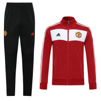 20/21 Manchester United Red Retro High Neck Collar Training Kit(Jacket+Trouser)