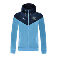 20/21 PSG Navy&Light Blue Windbreaker Hoodie Jacket
