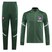 20/21 Atletico Madrid Green Player Version High Neck Collar Training Kit(Jacket+Trouser)