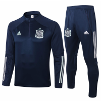 2020 Spain Navy Zipper Sweat Shirt Kit(Top+Trouser)