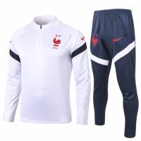 2020 France White Zipper Sweat Shirt Kit(Top+Trouser)