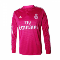 14/15 Real Madrid Away Pink Retro Long Sleeves Jerseys Shirt