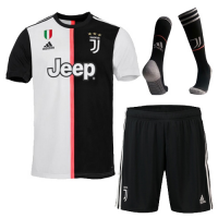19-20 Juventus Home Black&White Soccer Jerseys Kit(Shirt+Short+Socks)