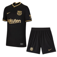 20/21 Barcelona Away Black Soccer Jerseys Kit(Shirt+Short)