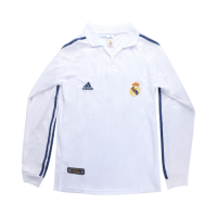 Real Madrid Retro Soccer Jersey Home Long Sleeve Replica 2001/02