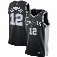Men's San Antonio Spurs LaMarcus Aldridge No.12 Nike Black 202021 Swingman Jersey - Icon Edition