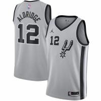 Men's San Antonio Spurs LaMarcus Aldridge No.12 Jordan Brand Silver 202021 Swingman Jersey - Stateme