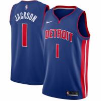 Men's Detroit Pistons Reggie Jackson No.1 Nike Blue Swingman Jersey - Icon Edition
