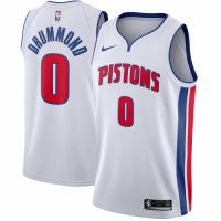 Men's Detroit Pistons Andre Drummond No.0 Nike White Swingman Jersey - Association Edition