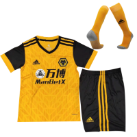 20/21 Wolverhampton Wanderers Home Yellow&Black Children's Jerseys Whole Kit(Shirt+Short+Socks)