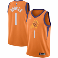 Men's Phoenix Suns Devin Booker No.1 Jordan Brand Orange 202021 Swingman Jersey - Statement Edition