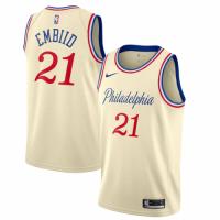 Men's Philadelphia 76ers Joel Embiid No.21 Nike Cream 201920 Finished Swingman Jersey - City Edition