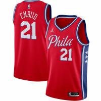 Men's Philadelphia 76ers Joel Embiid No.21 Jordan Brand Red 2021 Swingman Jersey - Statement Edition