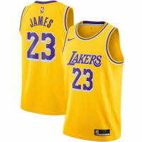 Men's Los Angeles Lakers LeBron James No.23 Nike Gold 202021 Swingman Jersey - Icon Edition