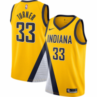 Men's Indiana Pacers Myles Turner No.33 Nike Gold Finished Swingman Jersey - Statement Edition