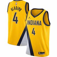 Men's Indiana Pacers Victor Oladipo No.4 Jordan Brand Gold 202021 Swingman Jersey - Statement Editio