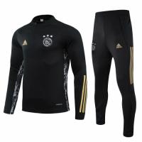 20/21 Ajax Black Zipper Sweat Shirt Kit(Top+Trouser)