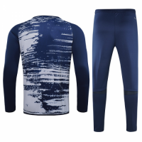 20/21 Real Madrid Navy O-Neck Sweat Shirt Kit(Top+Trouser)