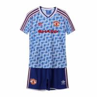 Manchester United Kids Retro Soccer Jersey Away Kit (Shirt+Short) 1990/92