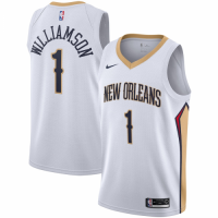 Men's New Orleans Pelicans Zion Williamson #1 Nike White 20/21 Swingman Jersey - Association Edition