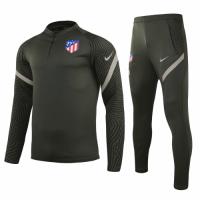 20/21 Atletico Madrid Dark Green Zipper Sweat Shirt Kit(Top+Trouser)