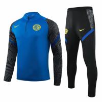 20/21 Inter Milan Blue Zipper Sweat Shirt Kit(Top+Trouser)