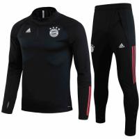20/21 Bayern Munich Black Zipper Sweat Shirt Kit(Top+Trouser)