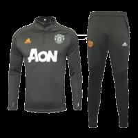 20/21 Manchester United Dark Green Zipper Sweat Shirt Kit(Top+Trouser)