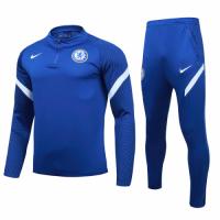 20/21 Chelsea Dark Blue Zipper Sweat Shirt Kit(Top+Trouser)