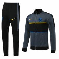 20/21 Inter Milan Gray Player Version High Neck Collar Training Kit(Jacket+Trouser)
