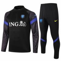 2020 Netherlands Black Zipper Sweat Shirt Kit(Top+Trouser)