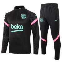 20/21 Barcelona Black Zipper Sweat Shirt Kit(Top+Trouser)