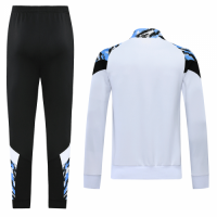 20/21 Manchester City White High Neck Collar Training Kit(Jacket+Trouser)