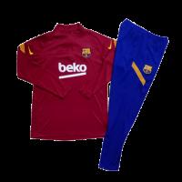Kids 20/21 Barcelona Red Zipper Sweat Shirt Kit(Top+Trouser)