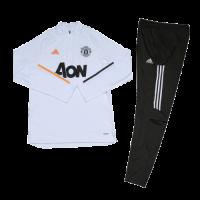 Manchester United Kids Zipper Sweat Kit (Top+Trouser) White 2020/21
