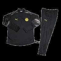 Kids 20/21 Borussia Dortmund Black Zipper Sweat Shirt Kit(Top+Trouser)