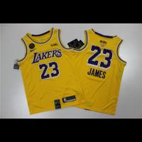 Men's Los Angeles Lakers LeBron James N0.23 Yellow 2020 NBA Final Version SwingmanJersey