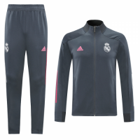 20/21 Real Madrid Gray High Neck Collar Training Kit(Jacket+Trouser)