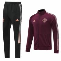 20/21 Manchester United Dark Red High Neck Collar Training Kit(Jacket+Trouser)