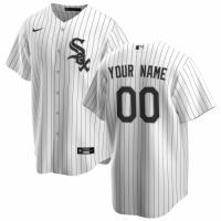 Men's Chicago White Sox Nike White Black Home 2020 Replica Custom Jersey