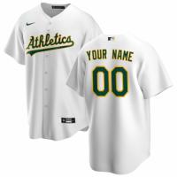 Men's Oakland Athletics Nike White Home 2020 Replica Custom Jersey
