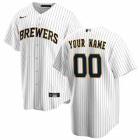Men's Milwaukee Brewers Nike White&Navy Alternate 2020 Replica Custom Jersey