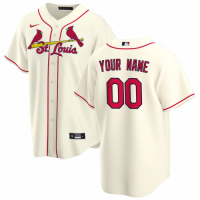 Men's St. Louis Cardinals Nike Cream Alternate 2020 Replica Custom Jersey