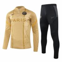 20/21 PSG Yellow Zipper Sweat Shirt Kit(Top+Trouser)